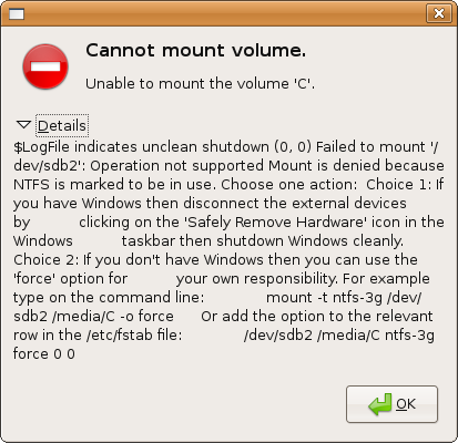 """""""Cannot mount volume"""" error dialog, with details"""